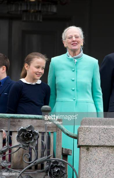 Princess Isabella of Denmark and Queen Margrethe of Denmark at Queen Margrethe's 77th Birthday Celebrations at Marselisborg Palace on April 16 2017...