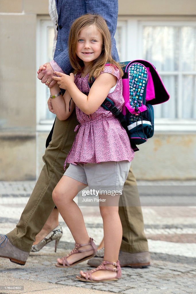 Princess Isabella of Denmark, departs Amalienborg Palace for her first day at Tranegard School on August 13, 2013 in Copenhagen, Denmark.