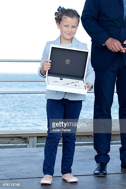 Princess Isabella of Denmark names a Ferry after herself at Saelvig Harbour during her first day of official engagements onThe Island Of Samso on...