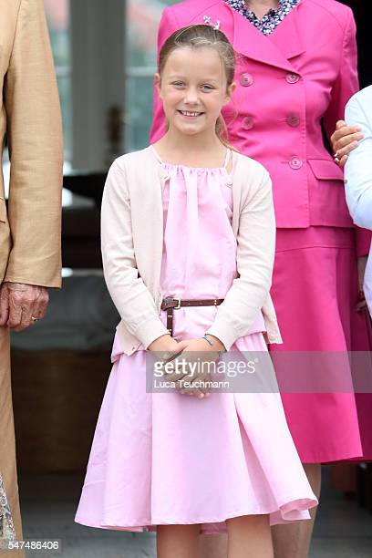 Princess Isabella of Denmark poses for photographers at the annual summer photo call for The Danish Royal Family at Grasten Castle on July 15 2016 in...