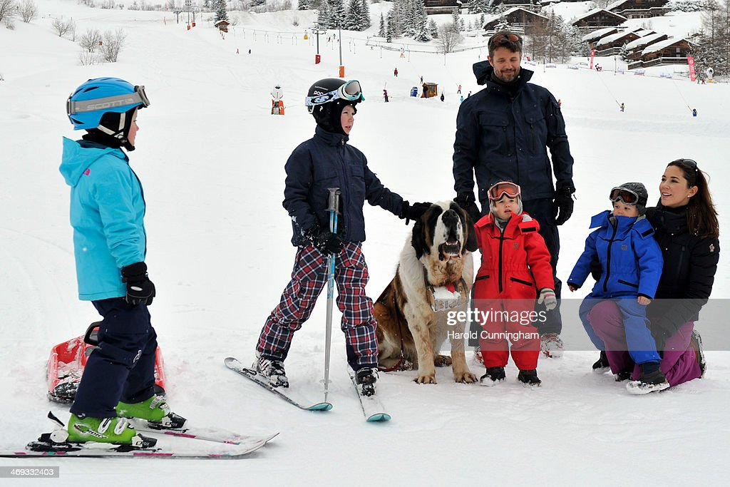 Princess Isabella of Denmark, Prince Christian of Denmark, Crown Prince Frederik of Denmark, Princess Josephine of Denmark, Prince Vincent of Denmark and Princess Mary of Denmark meet the press, whilst on skiing holiday on February 14, 2014 in Verbier, Switzerland.