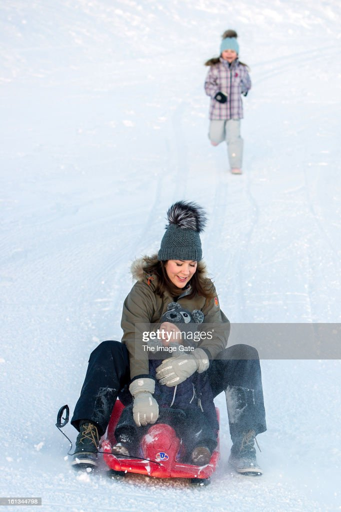 Princess Isabella of Denmark, Princess Mary of Denmark and Princess Josephine of Denmark meet the press, whilst on skiing holiday on February 10, 2013 in Verbier, Switzerland.