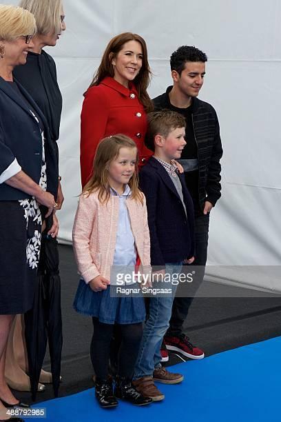 Princess Isabella of Denmark Princess Mary of Denmark Prince Christian of Denmark and Danish artist Basim visit BW Hallerne during the Eurovision...