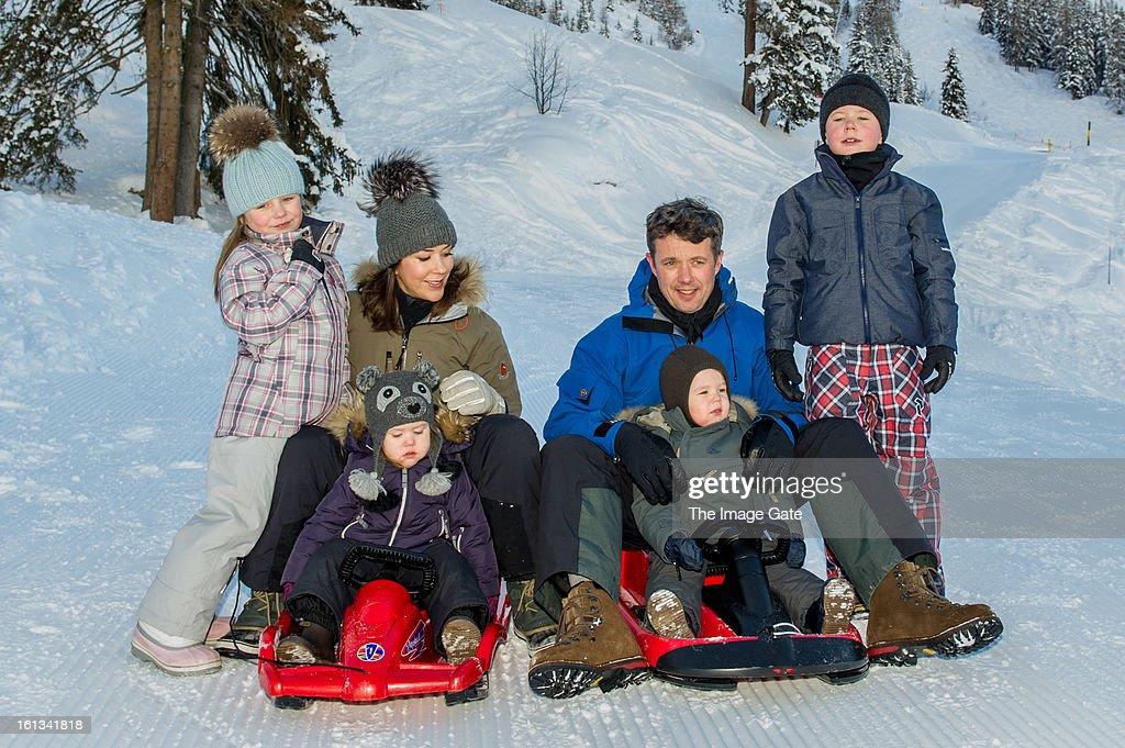 Princess Isabella of Denmark, Princess Mary of Denmark, Princess Josephine of Denmark, Crown Prince Frederik of Denmark, Prince Vincent of Denmark and Prince Christian of Denmark meet the press, whilst on skiing holiday on February 10, 2013 in Verbier, Switzerland.