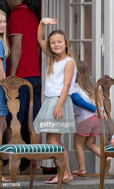 Princess Isabella of Denmark views The Guard Change At Grasten Castle on July 24 2015 in Grasten Denmark