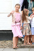 Princess Isabella of Denmark waves to the photographers at the annual summer photo call for The Danish Royal Family at Grasten Castle on July 15 2016...