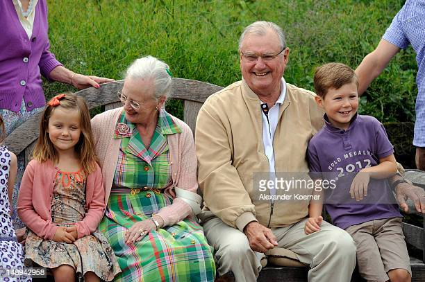 Princess Isabella Queen Margrethe II Prince Consort Henrik of Denmark and Prince Christian pose during a photocall for the Royal Danish family at...