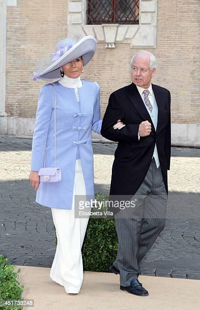 Princess Isabelle of Liechtenstein and Prince Philipp Of Liechtenstein arrive at Wedding of Prince Amedeo of Belgium and Elisabetta Maria Rosboch Von...