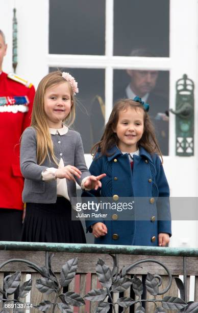 Princess Josephine and her cousin Princess Athena of Denmark attend the 77th birthday celebrations of Danish Queen Margrethe at Marselisborg Palace...