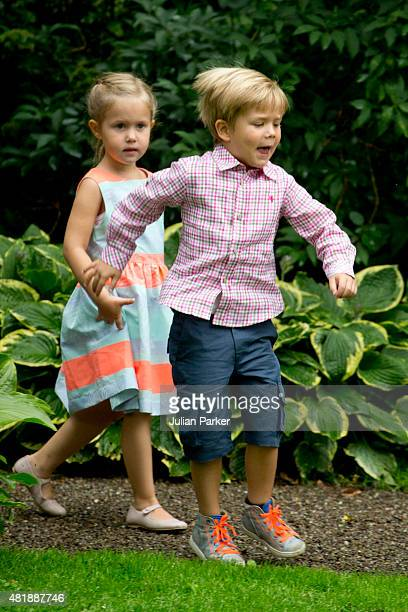 Princess Josephine and Prince Vincent of Denmark attend the annual summer Photocall for The Danish Royal Family at Grasten Castle on July 25 2015 in...