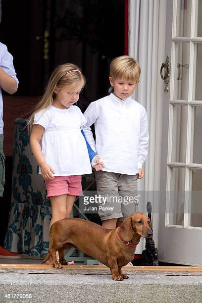 Princess Josephine and Prince Vincent of Denmark view The Guard Change At Grasten Castle on July 24 2015 in Grasten Denmark