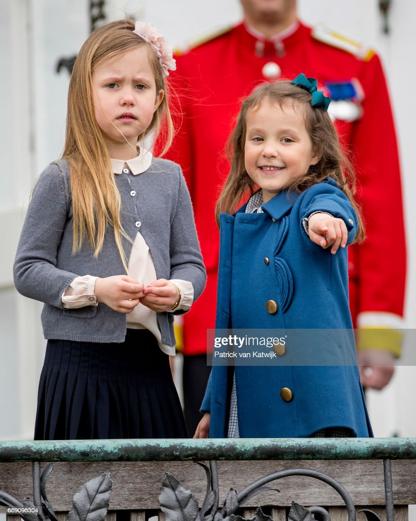 Princess Josephine and Princess Athena of Denmark attend the 77th birthday celebrations of Danish Queen Margrethe at Marselisborg Palace on April 16, 2017 in Aarhus, Denmark.