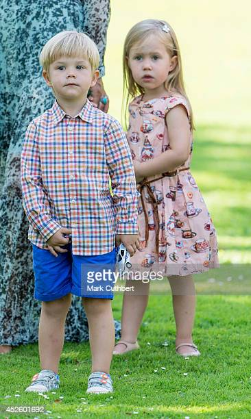 Princess Josephine of Denmark and Prince Vincent of Denmark attend the annual Summer photo call for the Royal Danish family at Grasten Castle on July...