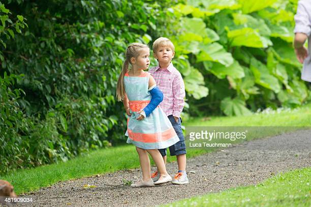 Princess Josephine of Denmark and Prince Vincent of Denmark attend the annual summer Photocall for The Danish Royal Family at Grasten Castle on July...