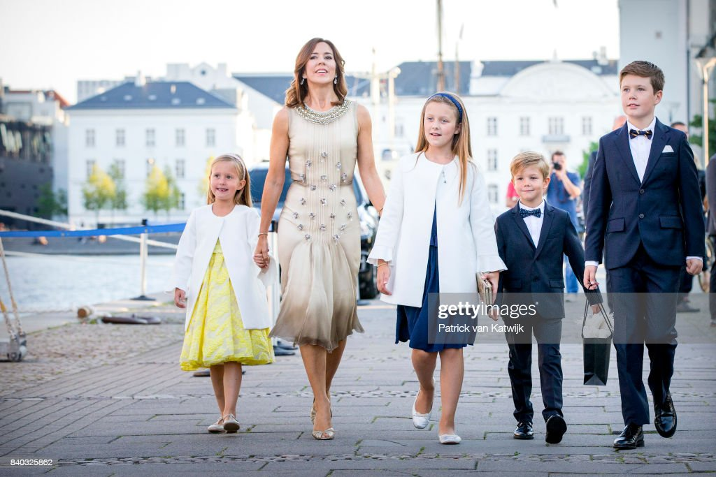 Princess Josephine of Denmark, Crown princess Mary of Denmark, Princess Isabella of Denmark, Prince Vincent of Denmark and Prince Christian of Denmark attend the 18th birthday celebration of Prince Nikolai at royal ship Dannebrog on August 28, 2017 in Copenhagen, Denmark.
