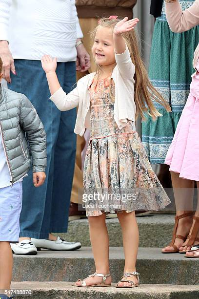 Princess Josephine of Denmark plays during the annual summer photo call for The Danish Royal Family at Grasten Castle on July 15 2016 in Grasten...