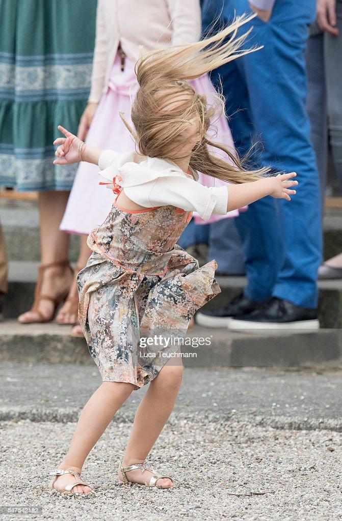 Princess Josephine of Denmark plays during the annual summer photo call for The Danish Royal Family at Grasten Castle on July 25, 2015 in Grasten, Denmark