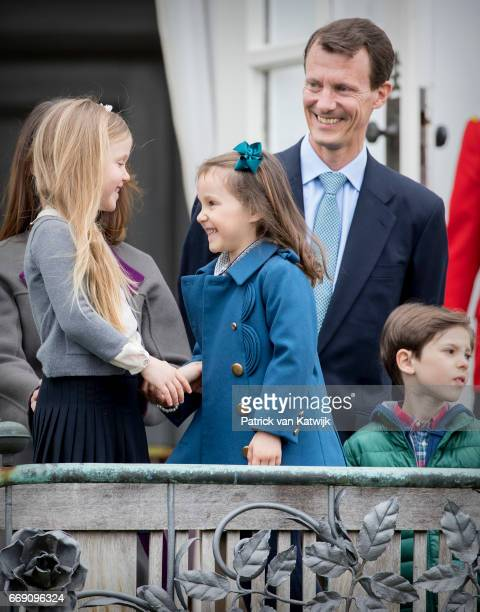 Princess Josephine Princess Athena Prince Joachim and Prince Henrik of Denmark attend the 77th birthday celebrations of Danish Queen Margrethe at...