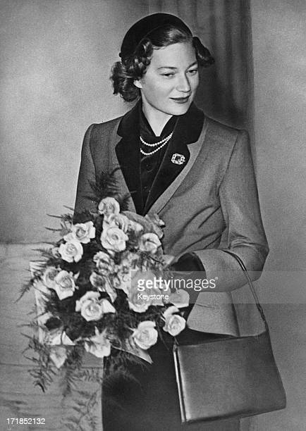 Princess JosephineCharlotte of Belgium carrying a bouquet circa 1952