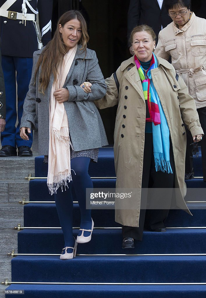 Princess Juliana (L) and Princess Christina of The Netherlands leave the Royal Palace after brunch with King Willem Alexander and Queen Maxima of The Netherlands on May 1, 2013 in Amsterdam Netherlands.