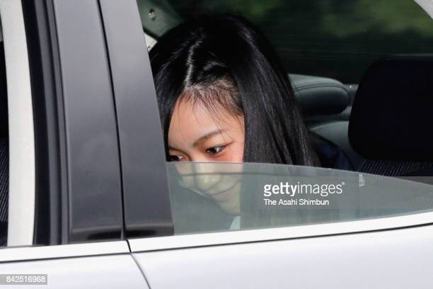 Princess Kako of Akishino is seen on departure at the Imperial Palace after meeting with Emperor Akihito and Empress Michiko on September 4 2017 in...