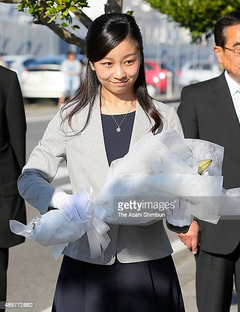 Princess Kako of Akishino offers a flower bunch to the monument of the TamaeMaru explosion on September 21 2015 in Sakaiminato Tottori Japan...