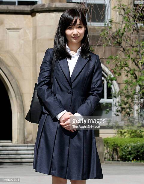 Princess Kako of Akishino poses for photographs before attending Gakushuin University entering ceremony on April 8 2013 in Tokyo Japan