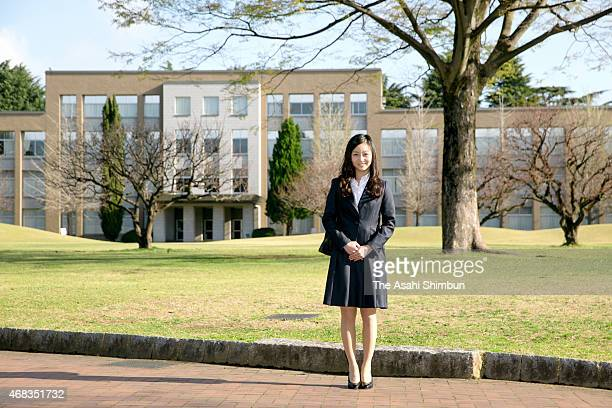 Princess Kako of Akishino poses for photographs upon arrival at the International Christian University to attend the welcome ceremny on April 2 2015...