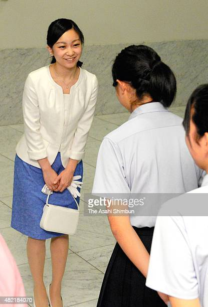 Princess Kako of Akishino talks to students after the opening ceremony of the InterHigh School Cultural Festival at Shiga Prefecture Museum of Modern...