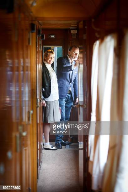 Princess Kalina and Prince Kyril SaxeCoburgGotha in the royal train on the way to Cherepish Monastery for the Birthday of King Simeon II of Bulgaria...