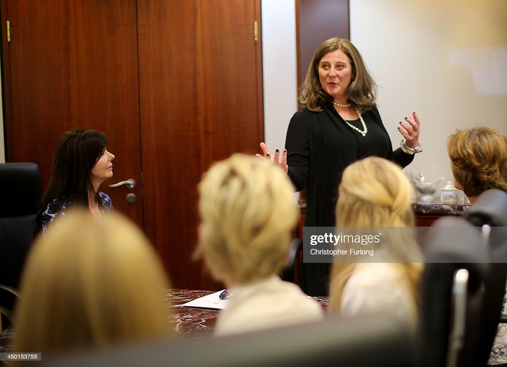 Princess Katarina of Yugoslavia lectures debutantes in the art of social skills during the London Season Academy's first etiquette, social and business protocol class at The Emirates Towers in Dubai on November 15, 2013 in Dubai, United Arab Emirates.. Debutantes were given lessons by HH Princess Katarina of Yugoslavia, The Duchess of Somerset, Sir Tobias Clarke BT and etiquette and royal protocol consultant Rafal Heydel-Mankoo. To launch the new Dubai academy one hundred guests and debutantes attended a debutantes ball, to raise cash for charity on the exclusive and privately owned Royal Island off the coast of Dubai.