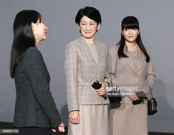 Princess Kiko and her first daughter Mako of Akishino visit the 'Impressionist Masterpieces from Marmottan Monet Museum' exhibition at Tokyo...