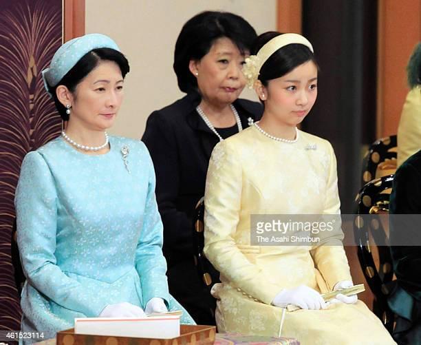 Princess Kiko and Princess Kako of Akishino attend the 'UtakaiHajimenoGi' New Year's Poetry Reading ceremony at the Imperial Palace on January 14...