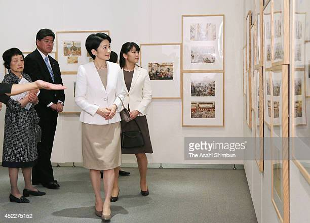 Princess Kiko and Princess Mako of Akishino visit the Bologna Illustrators Exhibition at Itabashi Art Museum on July 16 2014 in Tokyo Japan