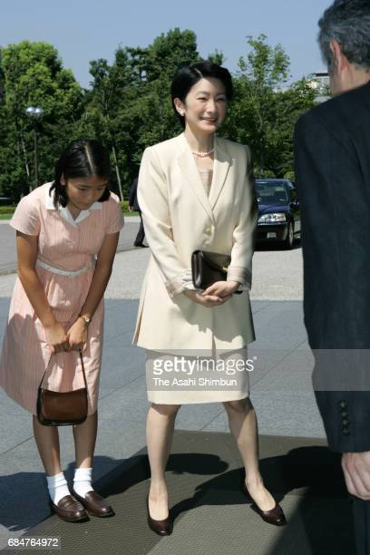 Princess Kiko and Princess Mako of Akishino visit the 'Cultural Crossings Tang Art and the Japanese Envoys' exhibition at the Tokyo National Museum...