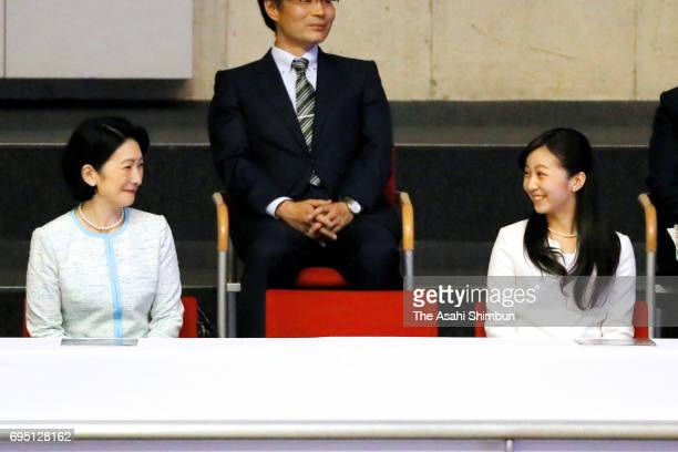 Princess Kiko of Akishino and her second daughter Kako attend the 'Doremifa Dance Concert' at Tokyo Metropolitan Gymnasium on June 10 2017 in Tokyo...