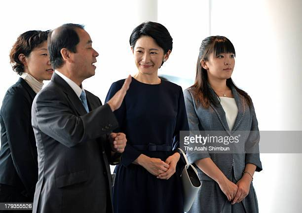 Princess Kiko of Akishino and Princess Mako attend the All Japan High School Sign Language Speech Contest at Daiichi Seimei Hall on Augsut 31 2013 in...