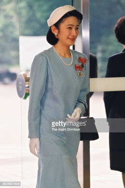 Princess Kiko of Akishino is seen on arrival at Meiji Jingu Kaikan to attend the Japan Red Cross Society annual meeting on May 13 1998 in Tokyo Japan
