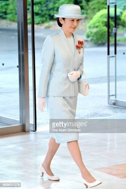 Princess Kiko of Akishino is seen on arrival prior to the Japanese Red Cross Society annual meeting at Meiji Jingu Kaikan on May 25 2017 in Tokyo...