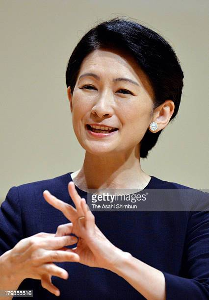 Princess Kiko of Akishino signs during the opening ceremony of the All Japan High School Sign Language Speech Contest at Daiichi Seimei Hall on...