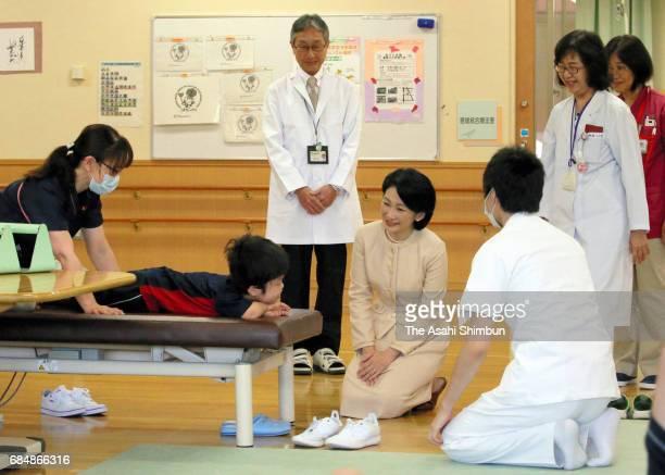 Princess Kiko of Akishino visits the Hokkaido Children General Medical Care and Treatment And Education Center on May 18 2017 in Sapporo Hokkaido...