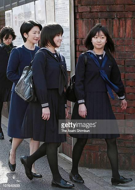 Princess Kiko Princess Mako and Princess Kako of Akishino enter Gakushuin school campus on March 22 2010 in Tokyo Japan Princess Mako and Princess...