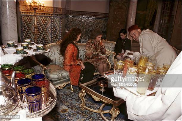 Princess Lalla Salma and Queen Sofia at tea time in Marrakech Morocco on January 17 2005