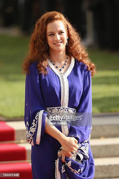 Princess Lalla Salma of Maroc is seen after the wedding ceremony of Prince Guillaume Of Luxembourg and Princess Stephanie of Luxembourg at the...