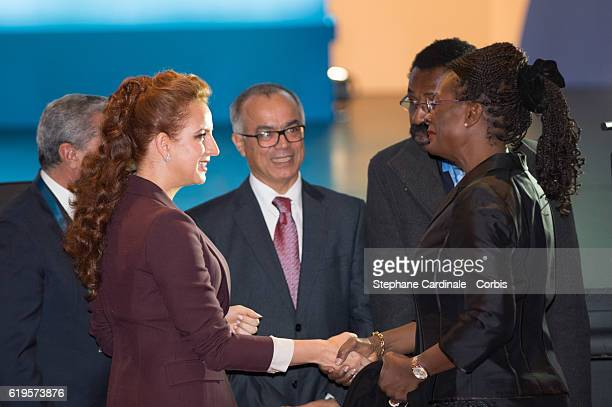 Princess Lalla Salma of Morocco and guest attend the 2016 World Cancer Congress at Palais des Congres on October 31 2016 in Paris France