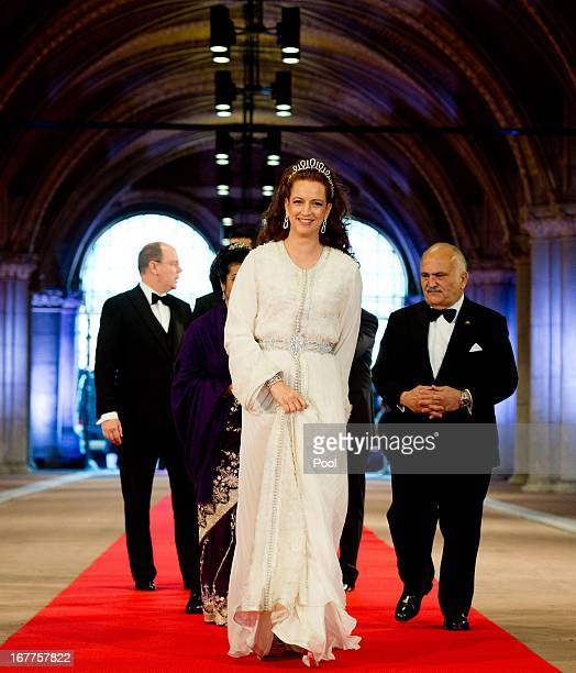 Princess Lalla Salma of Morocco arrives at a dinner hosted by Queen Beatrix of The Netherlands ahead of her abdication at Rijksmuseum on April 29...