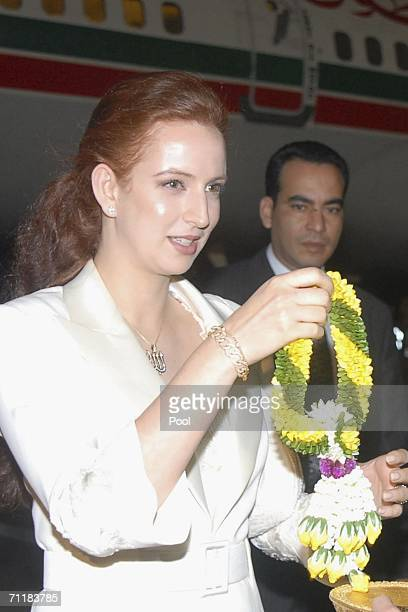 Princess Lalla Salma of Morocco arrives at Bangkok International Airport on June 11 2006 in Bangkok Royals from 25 contries will attend the Sixtieth...