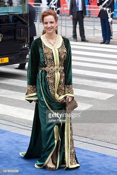 Princess Lalla Salma of Morocco arrives at the Nieuwe Kerk in Amsterdam for the inauguration ceremony of King Willem Alexander of the Netherlands on...