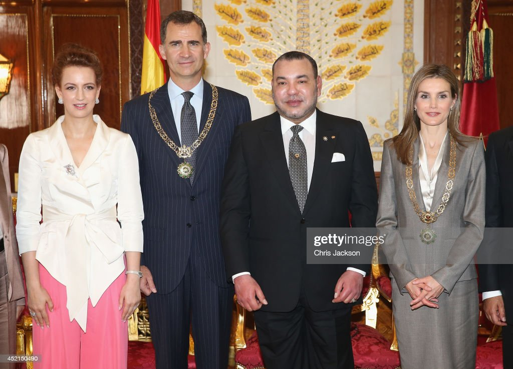 <a gi-track='captionPersonalityLinkClicked' href=/galleries/search?phrase=Princess+Lalla+Salma&family=editorial&specificpeople=581460 ng-click='$event.stopPropagation()'>Princess Lalla Salma</a> of Morocco, King <a gi-track='captionPersonalityLinkClicked' href=/galleries/search?phrase=Felipe+VI+of+Spain&family=editorial&specificpeople=4881076 ng-click='$event.stopPropagation()'>Felipe VI of Spain</a>, King <a gi-track='captionPersonalityLinkClicked' href=/galleries/search?phrase=Mohammed+VI+of+Morocco&family=editorial&specificpeople=210771 ng-click='$event.stopPropagation()'>Mohammed VI of Morocco</a> and Queen <a gi-track='captionPersonalityLinkClicked' href=/galleries/search?phrase=Letizia+of+Spain&family=editorial&specificpeople=158373 ng-click='$event.stopPropagation()'>Letizia of Spain</a> pose for a photo in the Royal Palace on July 14, 2014 in Rabat, Morocco. The new King and Queen of Spain are on a two day visit to Morocco. (Photo by Chris Jackson/Getty Images