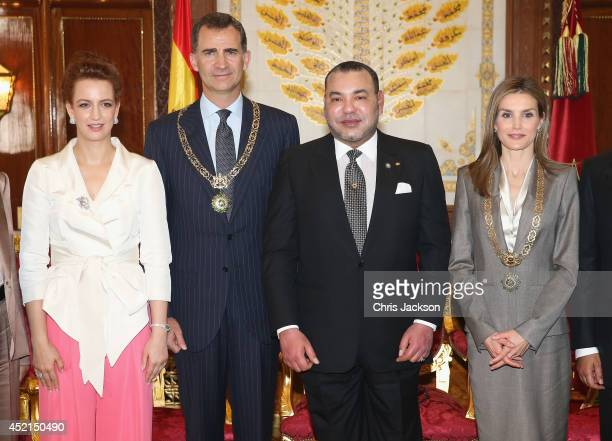 Princess Lalla Salma of Morocco King Felipe VI of Spain King Mohammed VI of Morocco and Queen Letizia of Spain pose for a photo in the Royal Palace...